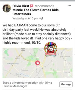 5 Star Review for Social Distancing Children's Entertainers from Minnie The Clown Parties